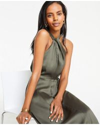 Ann Taylor Knotted Halter Maxi Dress - Green