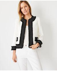 Ann Taylor Petite Framed Fringe Tweed Jacket - White