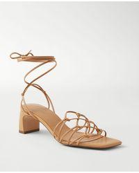 Ann Taylor Jasmine Knotted Strappy Kitten Heel Sandals - Natural