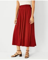 Ann Taylor Pull On Maxi Skirt - Red