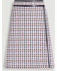 Ann Taylor Faux Leather Trim Plaid Wrap Skirt - Multicolour