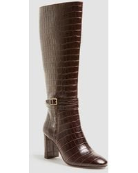 Ann Taylor Isabella Embossed Leather Buckle Boots - Brown