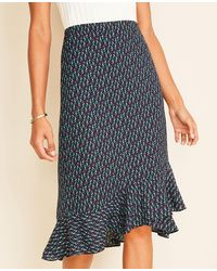 Ann Taylor Tall Floral Wrap Flounce Skirt - Blue