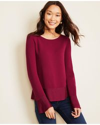 Ann Taylor Shimmer Trim Flare Sleeve Sweater - Red