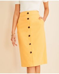 Ann Taylor Button Pocket Pencil Skirt - Yellow