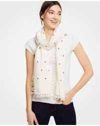 Ann Taylor - Embroidered Dot Tassel Scarf - Lyst