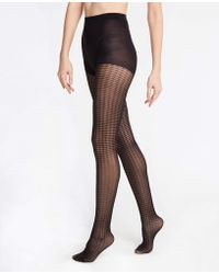Ann Taylor Houndstooth Tights - Black