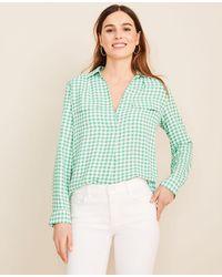 Ann Taylor Gingham Camp Shirt - Green