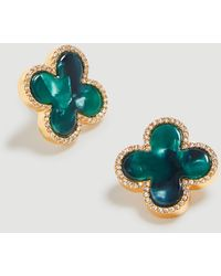 Ann Taylor Clover Stud Earrings - Green