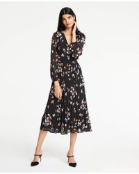 Ann Taylor - Meadow Floral Pleated Wrap Dress - Lyst