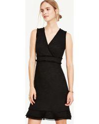Ann Taylor Fringe Tweed Flounce Dress - Black