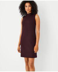 Ann Taylor The Petite Mock Neck Shift Dress In Double Knit - Purple