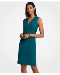 Ann Taylor Doubleweave V-neck Sheath Dress - Blue
