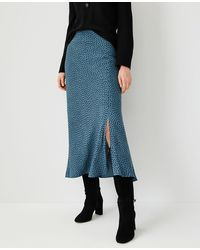 Ann Taylor Animal Print Slip Skirt - Blue