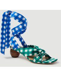 Ann Taylor Lizzette Gingham Wrap Wood Heel Sandals - Blue