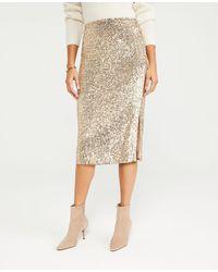 Ann Taylor Sequin Side Slit Pencil Skirt - Natural