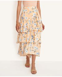 Ann Taylor Tall Floral Tiered Flounce Maxi Skirt - Multicolor