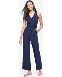 Ann Taylor - Petite Sleeveless Belted Jumpsuit - Lyst