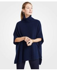 Ann Taylor - Cashmere Ribbed Poncho - Lyst