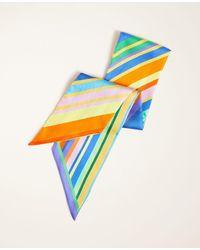 Ann Taylor Rainbow Striped Silk Scarf - Blue