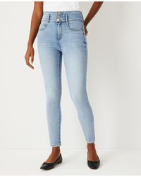 Ann Taylor Curvy Sculpting Pocket High Rise Skinny Jeans In Authentic Light Indigo Wash - Blue