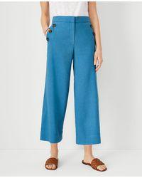 Ann Taylor The Sailor Wide Leg Crop Pant In Linen Blend - Blue