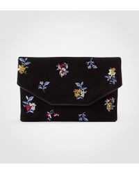 Ann Taylor - Embroidered Floral Envelope Clutch - Lyst