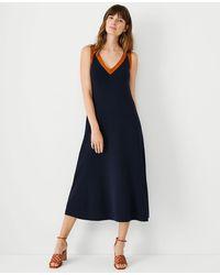 Ann Taylor Petite Tipped V-neck Jumper Dress - Blue