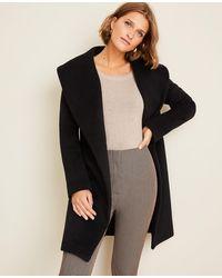 Ann Taylor Shawl Collar Wrap Coat - Black