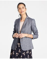 Ann Taylor The Petite Hutton Blazer In Chambray - Blue