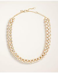 Ann Taylor - Rectangle Crystal Statement Necklace - Lyst