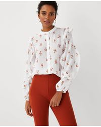 Ann Taylor Petite Floral Lacy Ruffle Sleeve Blouse - White