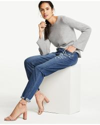 Ann Taylor - Pearlized Trim Girlfriend Jeans - Lyst