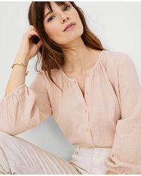 Ann Taylor Petite Shirred Blouse - Pink