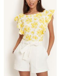 Ann Taylor Citrus Blossom Ruffle Sleeve Shell - Yellow