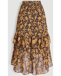 Ann Taylor Floral Flounce Midi Skirt - Brown