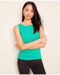 Ann Taylor Linen Blend Sweater Shell - Green