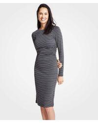 Ann Taylor - Petite Stripe Ruched Knit Sheath Dress - Lyst