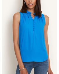Ann Taylor Petite Smocked Ruffle Neck Shell - Blue