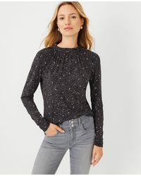 Ann Taylor Starry Spotted Ruffle Mock Neck Top - Black