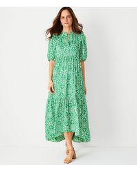 Ann Taylor - Tile Print Puff Sleeve Midi Dress - Lyst