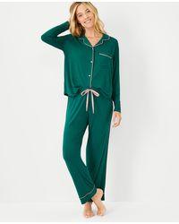 Ann Taylor Tipped Pyjama Set - Green