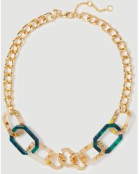 Ann Taylor Geo Tortoiseshell Link Necklace - Green