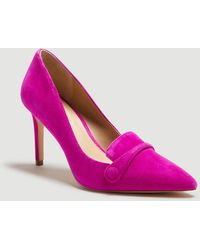 Ann Taylor Maryanne Suede Button Loafer Court Shoes - Purple