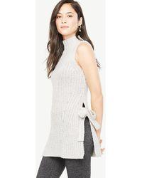 Ann Taylor Sleeveless Side Tie Tunic Jumper - Grey