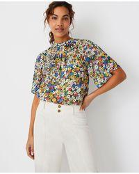 Ann Taylor Floral Cutout Yoke Top - Multicolour