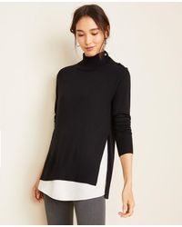 Ann Taylor Mixed Media Mock Neck Sweater - Black