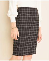 Ann Taylor The Pencil Skirt In Plaid - Black