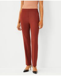 Ann Taylor The Petite High Rise Side Zip Straight Leg Pant In Bi-stretch - Red