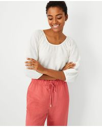 Ann Taylor - Petite Shirred 3/4 Sleeve Top - Lyst